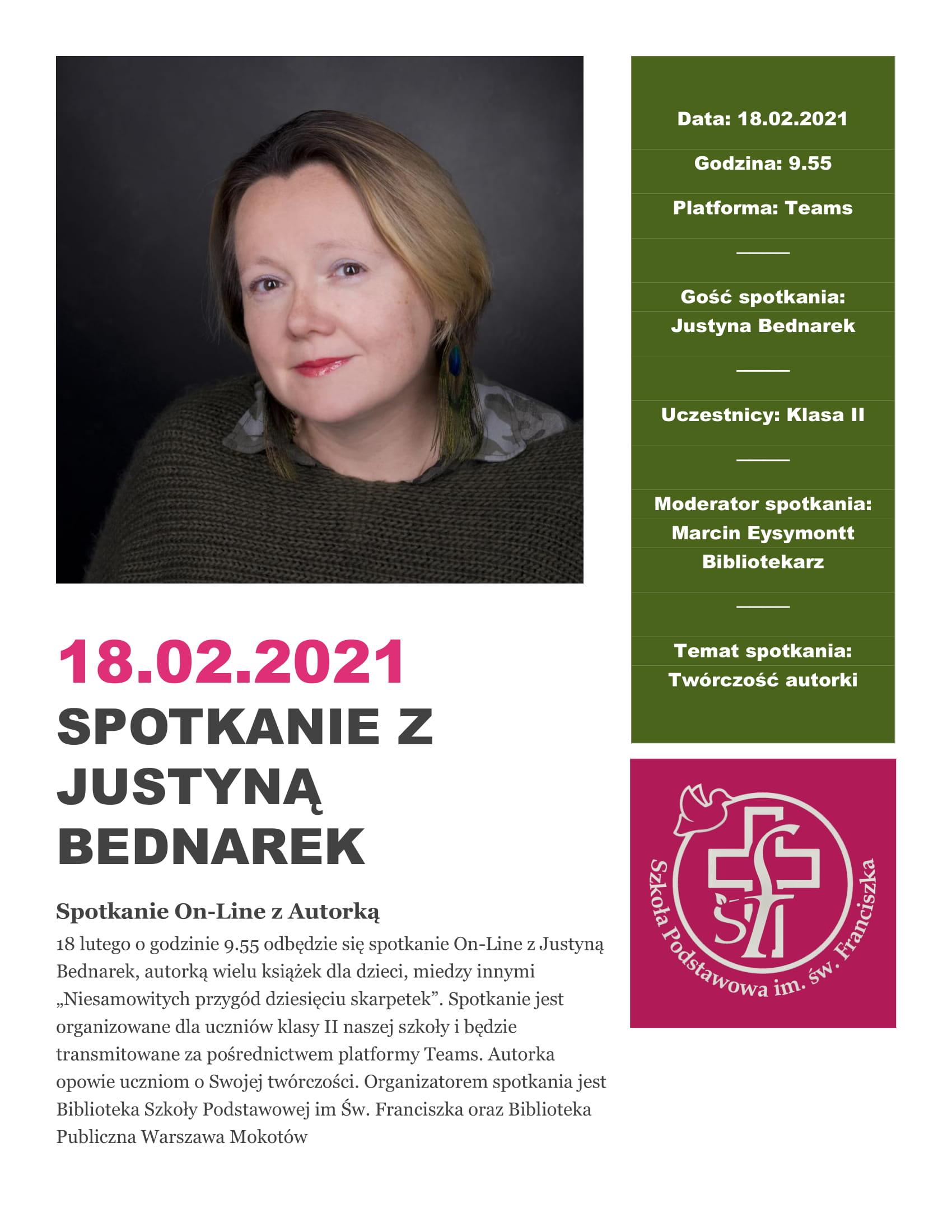Spotkanie autorskie On-Line z Justyną Bednarek